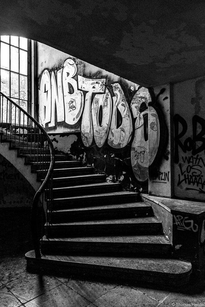 Upstairs.